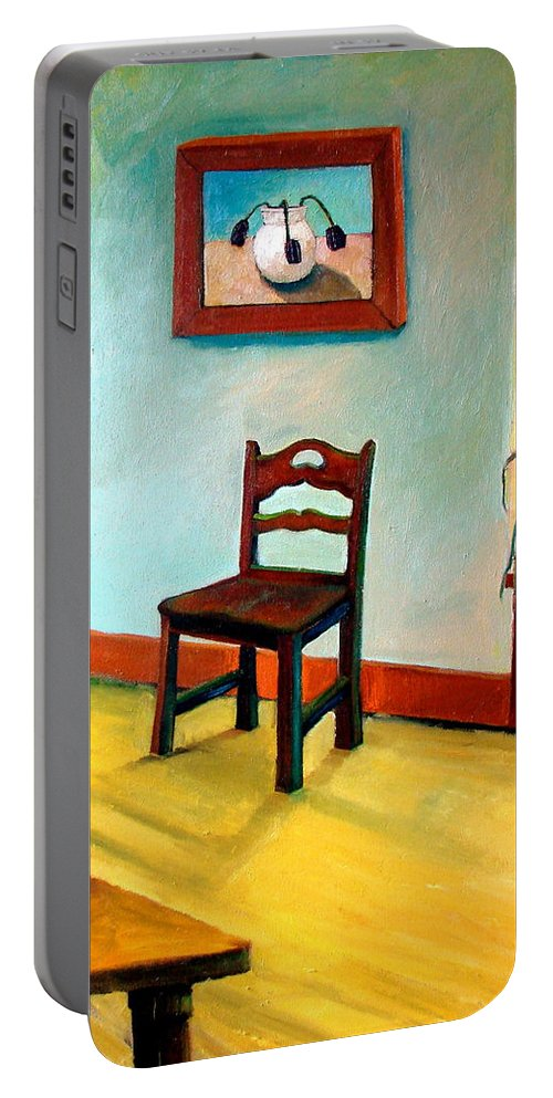 Apartment Portable Battery Charger featuring the painting Chair And Pears Interior by Michelle Calkins