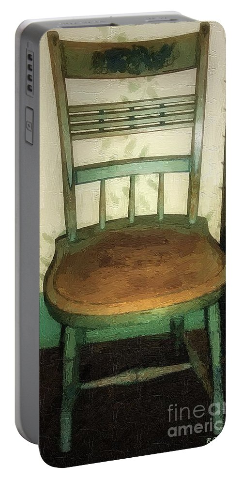 Antique Portable Battery Charger featuring the painting Chair In Isolated Corner by RC DeWinter
