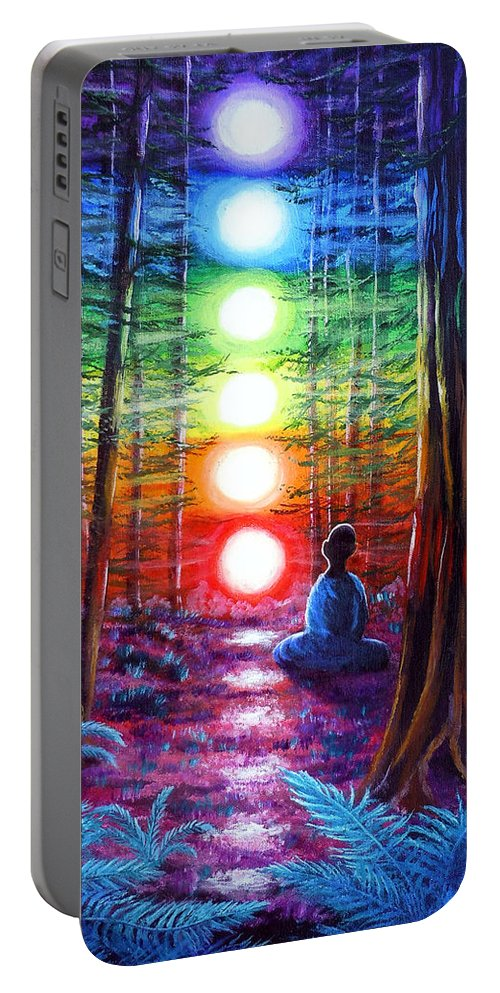 Zen Portable Battery Charger featuring the painting Chakra Meditation In The Redwoods by Laura Iverson