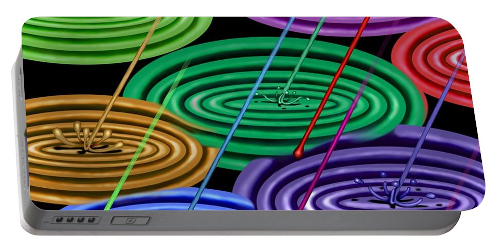 Surrealism Portable Battery Charger featuring the digital art Chakra Shower I by Robert Morin