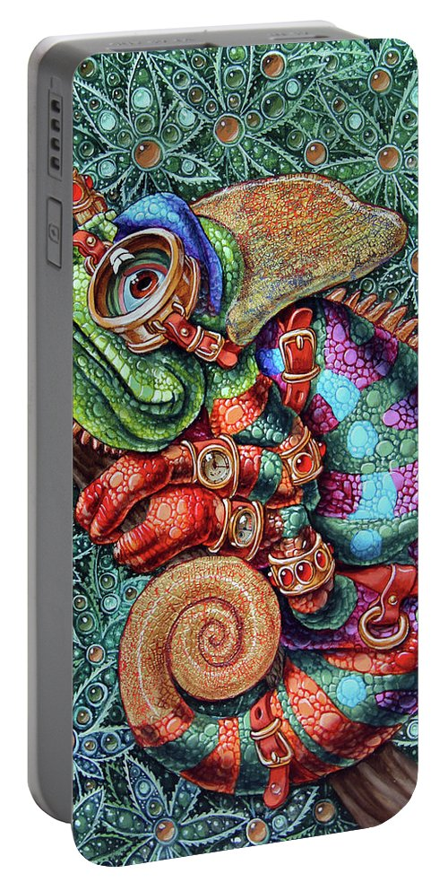 Steampunk Portable Battery Charger featuring the painting Chameleon by Victor Molev