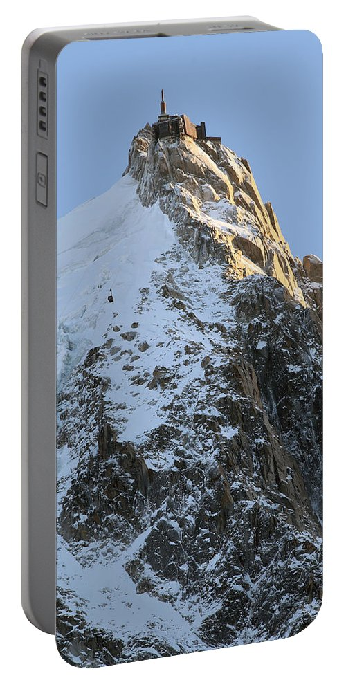 Mountain Portable Battery Charger featuring the photograph Chamonix - Aiguille Du Midi by Pat Speirs