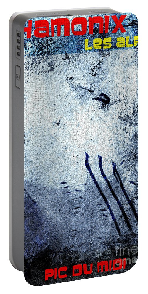 Chamonix Poster Art Portable Battery Charger featuring the digital art Chamonix Les Alpes by Callan Art