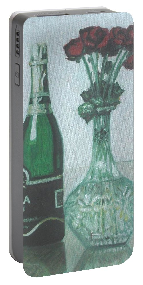 Champagne Portable Battery Charger featuring the painting Champagne and Roses by Usha Shantharam