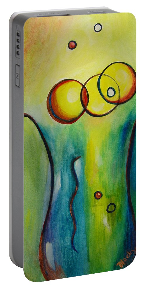 Abstract Portable Battery Charger featuring the painting Champagne by Donna Blackhall