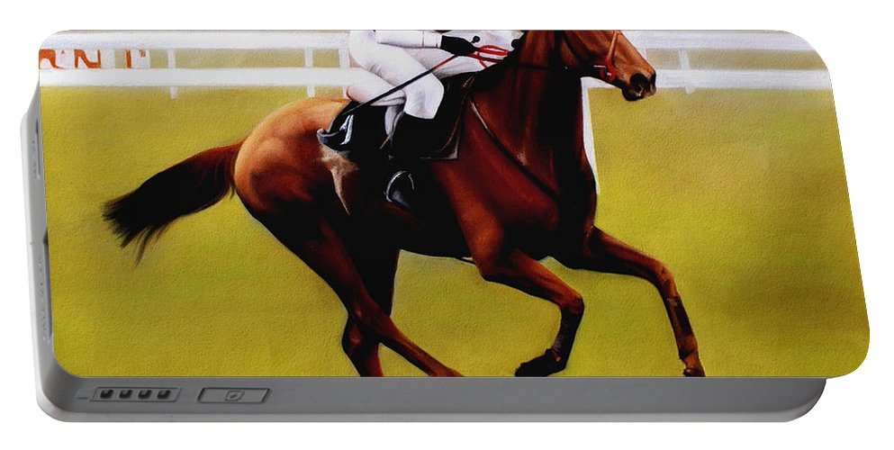 Horse Racing Portable Battery Charger featuring the pastel Champion Hurdle - Winner - Morley Street by Miroslav Stojkovic
