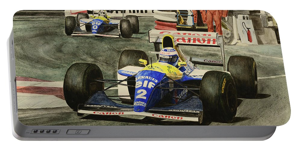 Alain Prost Portable Battery Charger featuring the painting Champion by Oleg Konin