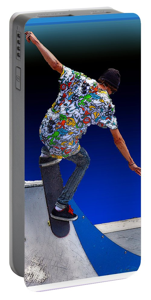 Champion Portable Battery Charger featuring the digital art Champion Skater by Terry Anderson