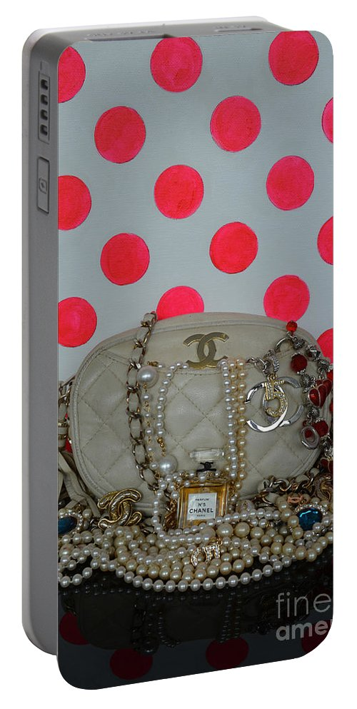 Chanel Portable Battery Charger featuring the mixed media Chanel And Pink Polka Dots by To-Tam Gerwe