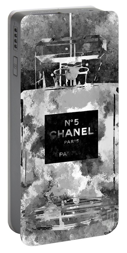 Chanel No. 5 Dark Portable Battery Charger featuring the mixed media Chanel No. 5 Dark by Daniel Janda