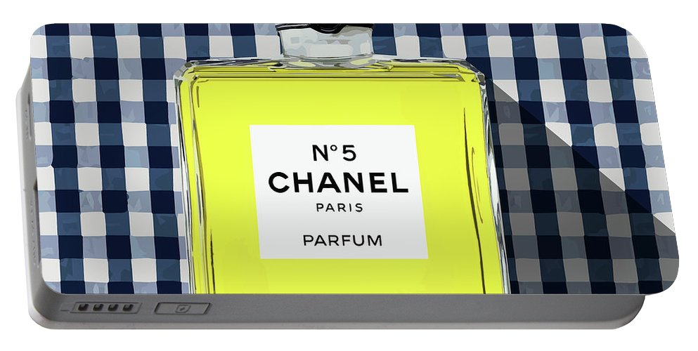 Chanel No.5 Portable Battery Charger featuring the digital art Chanel-no.5-pa-kao-ma1 by Bobbi Freelance