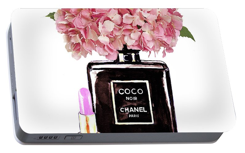 8d953e04b6bdcd Chanel Print Portable Battery Charger featuring the painting Chanel Perfume  With Pink Hydragenia 2 by Del