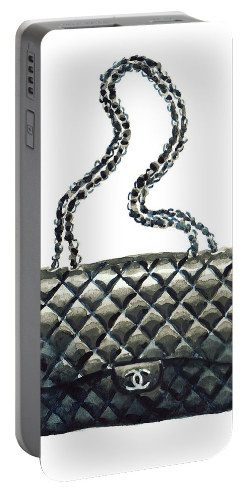 7b77380d38e012 Chanel Quilted Handbag Classic Watercolor Fashion Illustration Coco Quotes  Portable Battery Charger for Sale by Laura Row