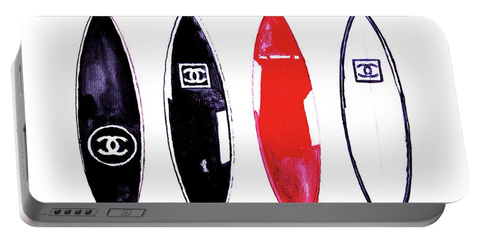 Chanel Portable Battery Charger featuring the painting Chanel Surfboards Print Chanel Surfboards Poster Chanel Surfboards Decor by Del Art