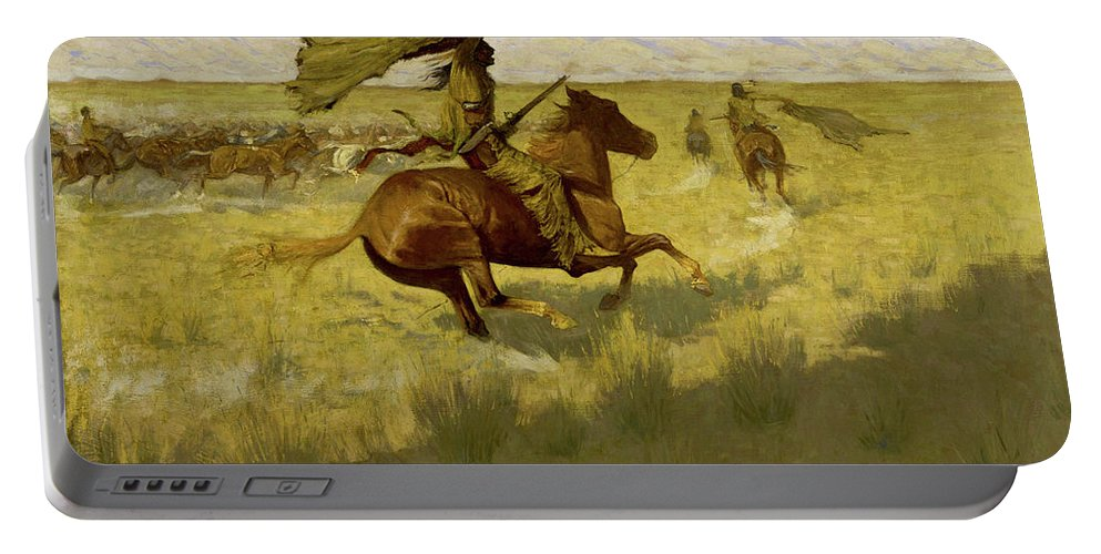 Horses Portable Battery Charger featuring the painting Change Of Ownership -the Stampede Horse Thieves by Frederic Sackrider Remington