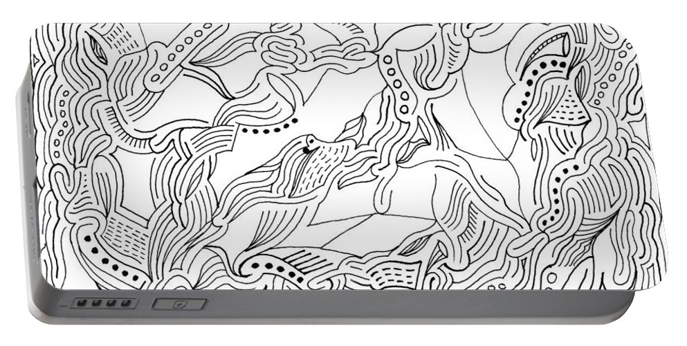 Mazes Portable Battery Charger featuring the drawing Changes by Steven Natanson