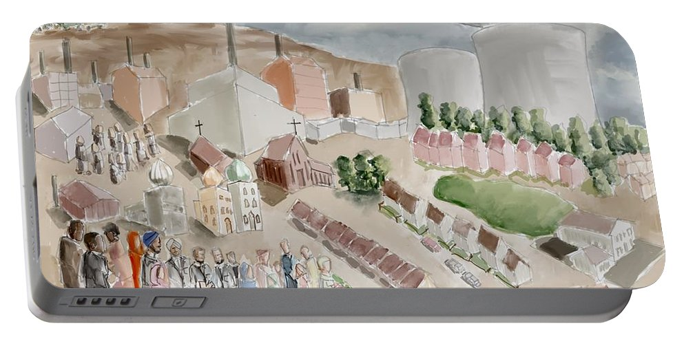 Slough Portable Battery Charger featuring the painting Changing Cityscape Slough by Sukhpal Grewal