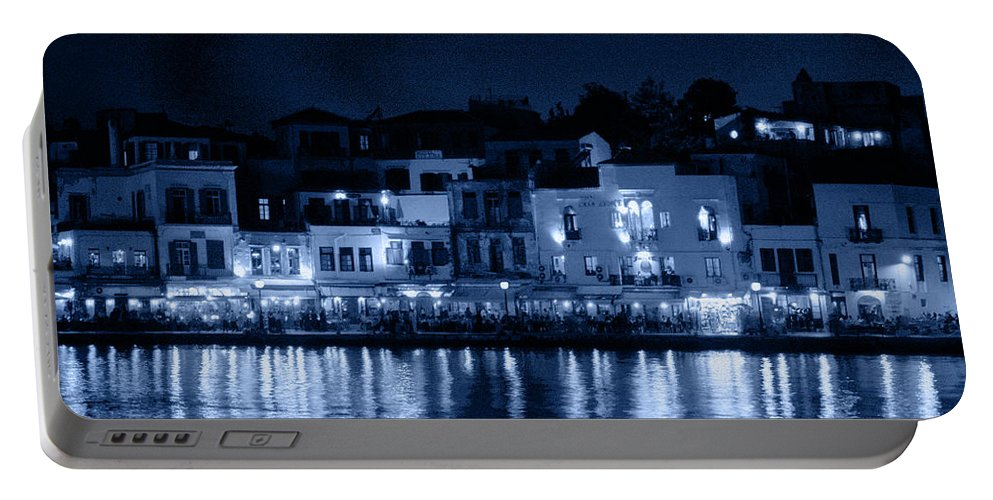 Lehtokukka Portable Battery Charger featuring the photograph Chania By Night In Blue by Jouko Lehto
