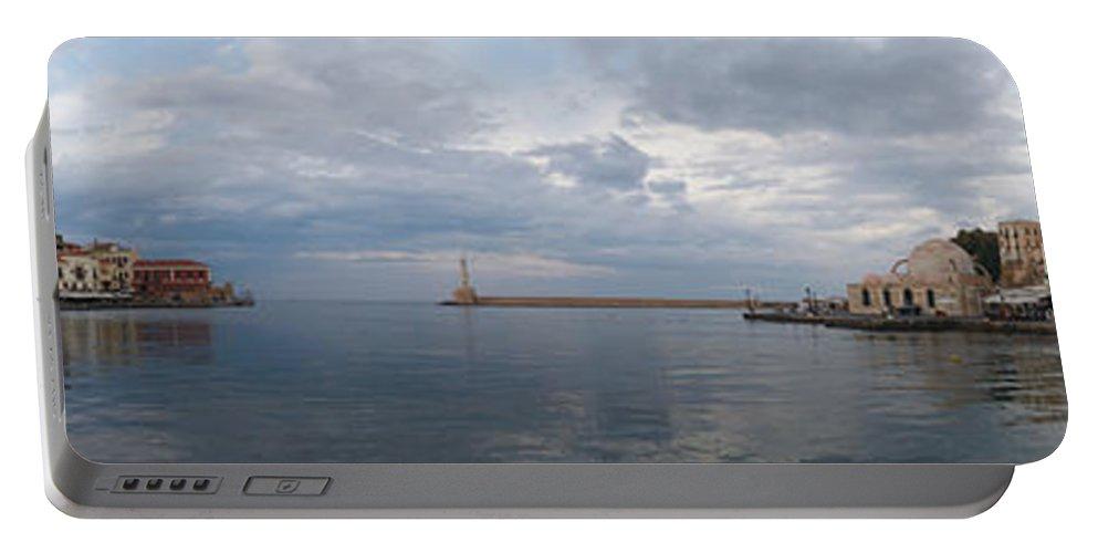 Lehtokukka Portable Battery Charger featuring the photograph Chania Old Harbour by Jouko Lehto