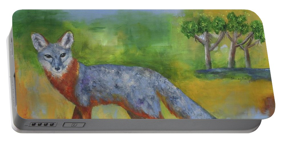 Island Fox Portable Battery Charger featuring the painting Channel Islands' Island Fox by Stacey Best