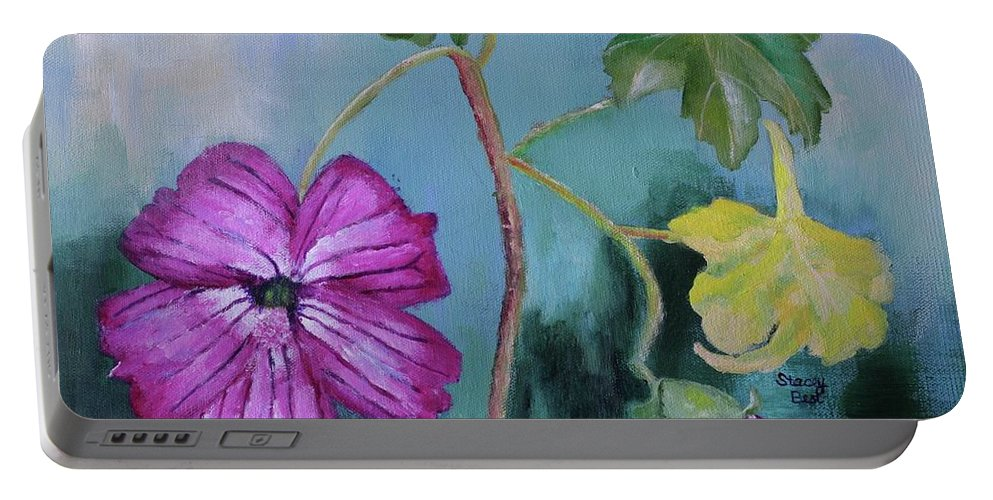 Island Mallow Portable Battery Charger featuring the painting Channel Islands' Island Mallow by Stacey Best