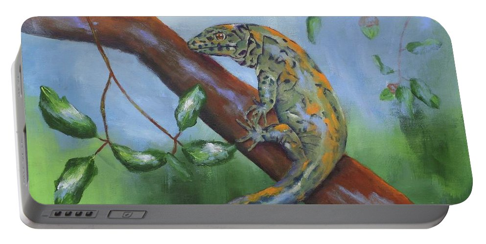 Lizard Portable Battery Charger featuring the painting Channel Islands Night Lizard by Stacey Best