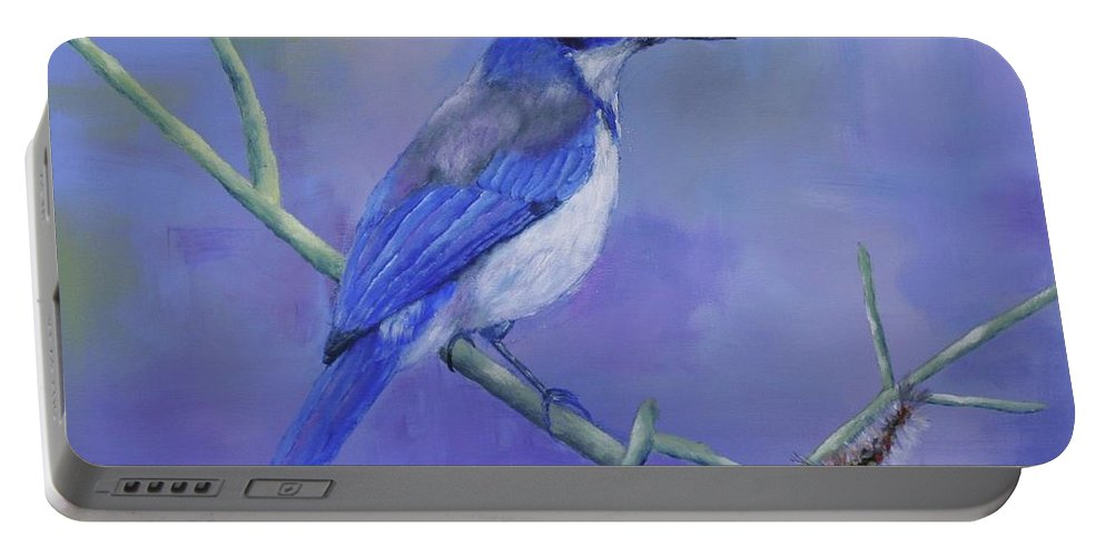 Channel Island's Scrub-jay Portable Battery Charger featuring the painting Channel Island's Scrub-jay by Stacey Best