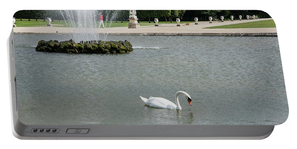 Animals Portable Battery Charger featuring the digital art Chantilly Castle Garden In France by Carol Ailles