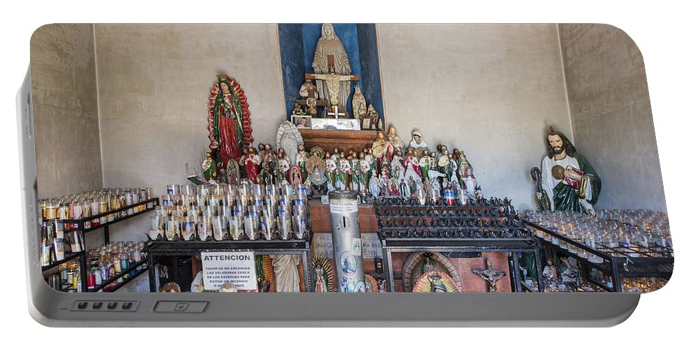 San Xavier Del Bac Mission Portable Battery Charger featuring the photograph Chapel Mortuary Interior - San Xavier Del Bac Mission - Tucson Arizona by Jon Berghoff