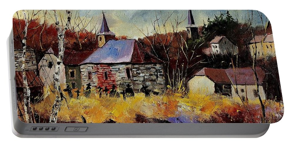 Landscape Portable Battery Charger featuring the painting Chapelle D'havenne by Pol Ledent