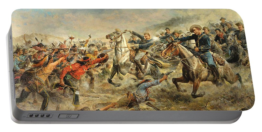 Frank Feller Portable Battery Charger featuring the painting Charge Of The Seventh Cavalry by Frank Feller