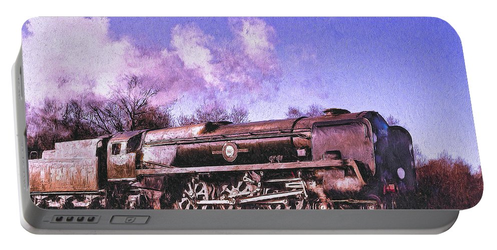 Railroad Portable Battery Charger featuring the painting Charger by Dominic Piperata