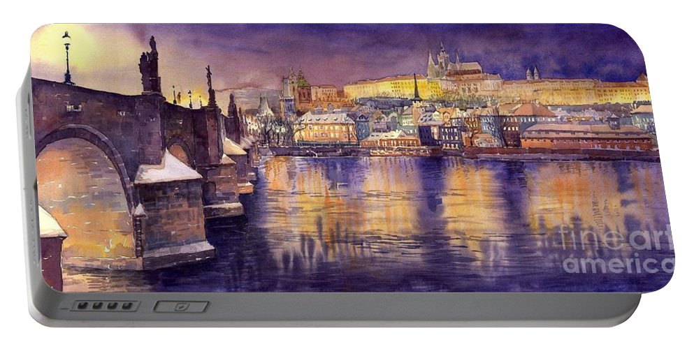 Cityscape Portable Battery Charger featuring the painting Charles Bridge And Prague Castle With The Vltava River by Yuriy Shevchuk