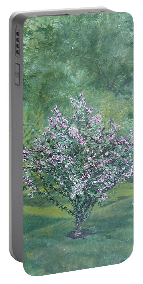 Blooming Portable Battery Charger featuring the painting Charles Street by Leah Tomaino