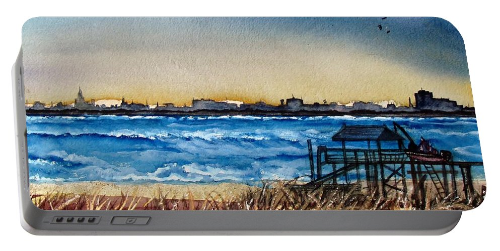 Charlieston Portable Battery Charger featuring the painting Charleston At Sunset by Lil Taylor