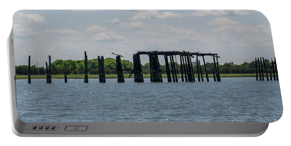 Coal Tipple Portable Battery Charger featuring the photograph Charleston Export Coal Terminal Wooden Testle by Dale Powell