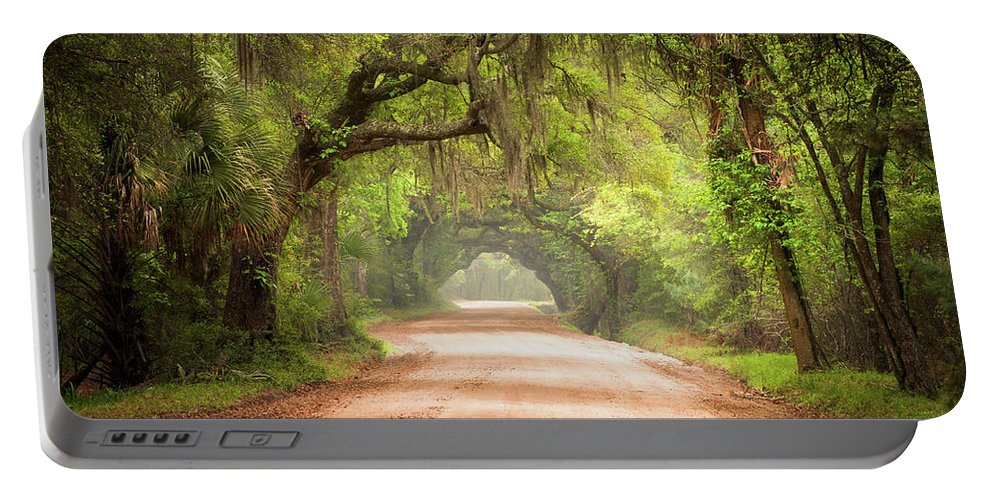 Dirt Road Portable Battery Charger featuring the photograph Charleston Sc Edisto Island Dirt Road - The Deep South by Dave Allen