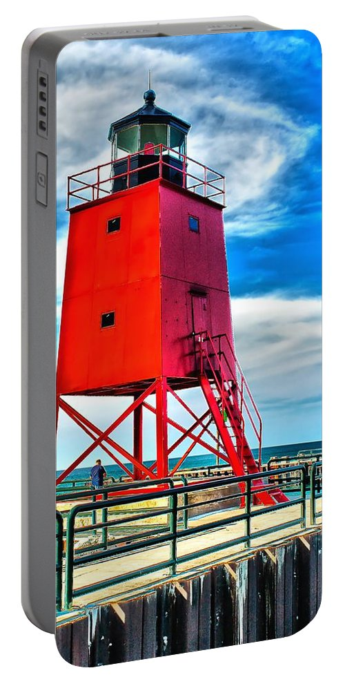 Architecture Portable Battery Charger featuring the photograph Charlevoix South Pier Light by Nick Zelinsky