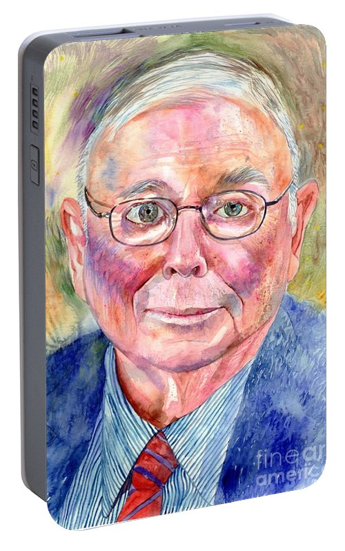 Charlie Portable Battery Charger featuring the painting Charlie Munger Painting by Suzann Sines