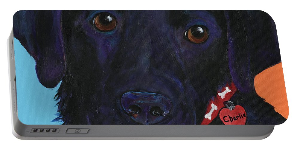 Dog Art Portable Battery Charger featuring the painting Charlie by Pat Saunders-White