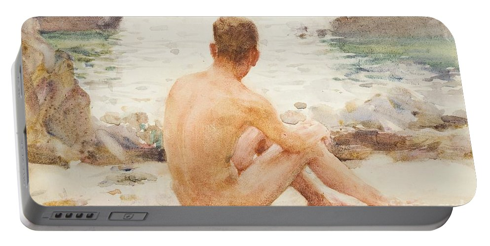 Charlie Mitchell Portable Battery Charger featuring the painting Charlie Seated On The Sand by Henry Scott Tuke
