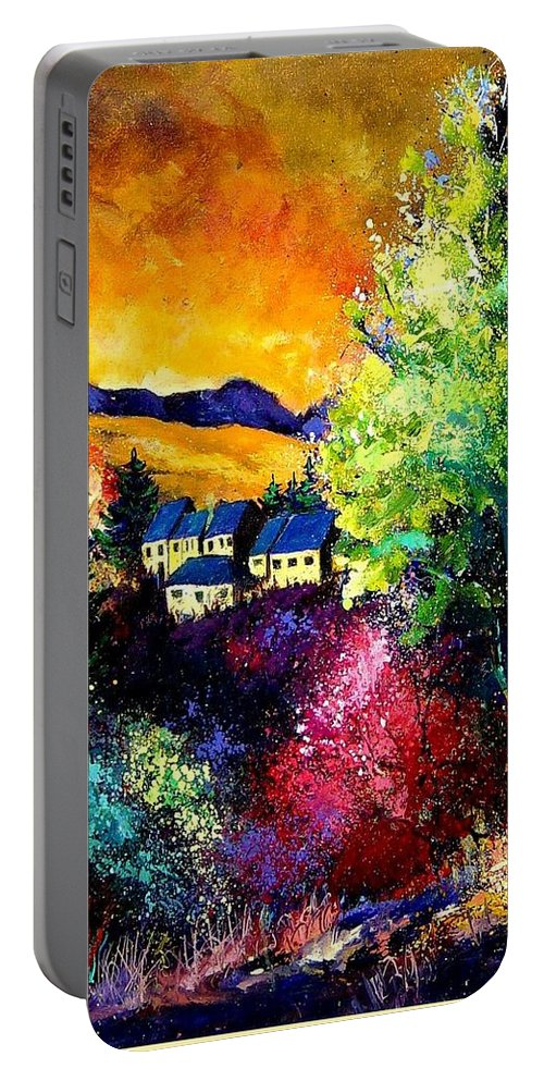 Landscape Portable Battery Charger featuring the painting Charnoy by Pol Ledent
