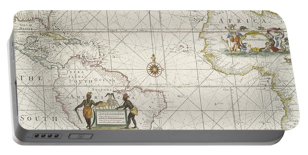 Map Portable Battery Charger featuring the drawing Chart Of The Atlantic Ocean by English School