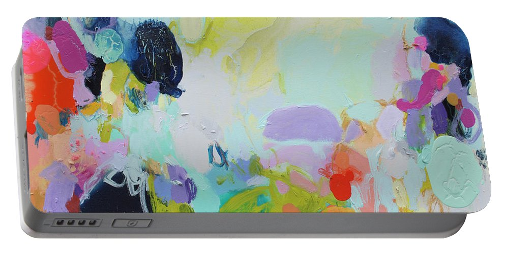 Abstract Portable Battery Charger featuring the painting Chartreuse Stop by Claire Desjardins
