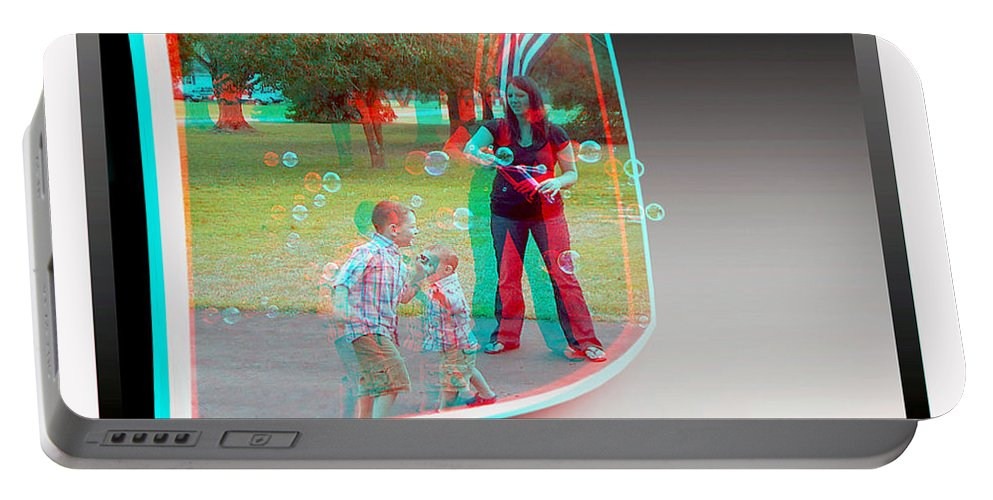 3d Portable Battery Charger featuring the photograph Chasing Bubbles - Use Red-cyan 3d Glasses by Brian Wallace