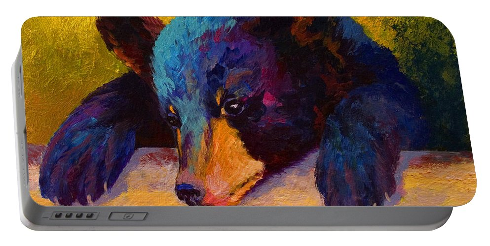 Bear Portable Battery Charger featuring the painting Chasing Bugs - Black Bear Cub by Marion Rose