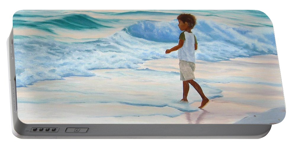 Child Portable Battery Charger featuring the painting Chasing The Waves by Lea Novak