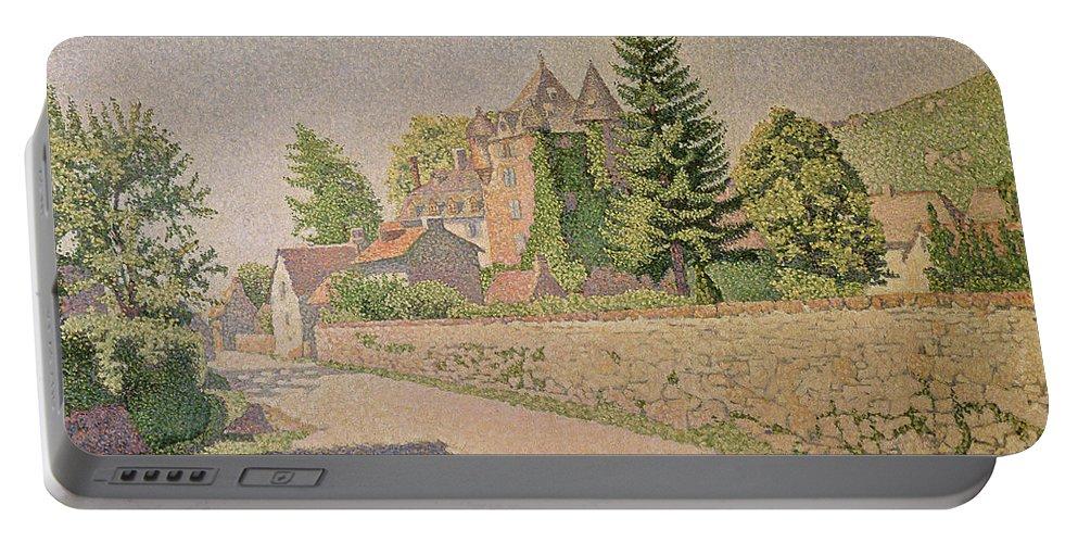 Chateau De Comblat Portable Battery Charger featuring the painting Chateau De Comblat by Paul Signac