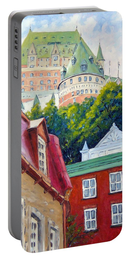 Town Portable Battery Charger featuring the painting Chateau Frontenac 02 by Richard T Pranke