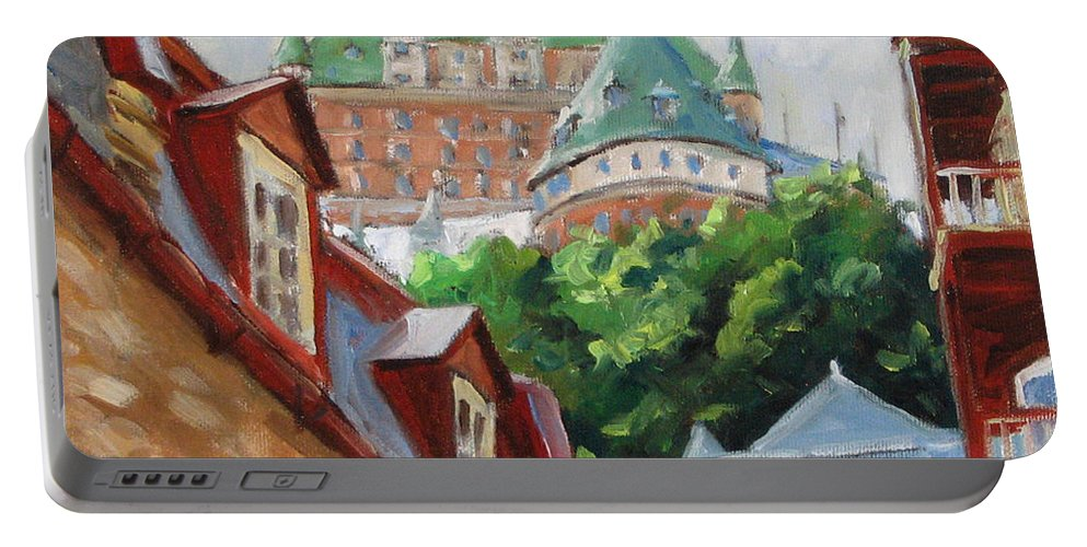 Chateau Frontenac Portable Battery Charger featuring the painting Chateau Frontenac by Richard T Pranke